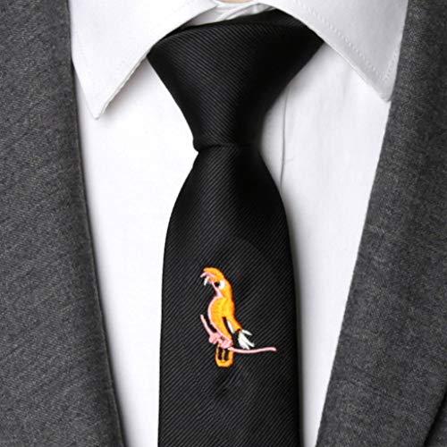 ABDYTE Männer Krawatte Schwarz Mode Tier Bestickte Krawatten Für Männer Schlanke Krawatte Hochzeitsfeier Freizeit Bowtie Männliches Kleid Geschenk