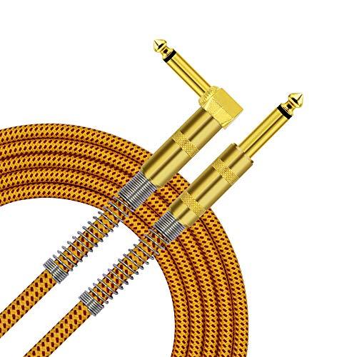 TISINO Gitarrenkabel, 3 m 6,35 mm TS rechtwinklig zur geraden Gitarre Instrumentenkabel für E-Gitarre, Bass, Amp, Keyboard, Mandoline - Gelb