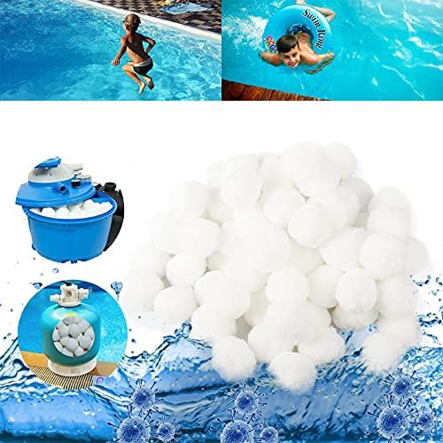 Yisscen Filter Balls, Filterbälle Pool, 500g ersetzen 18 kg Filtersand, für Pool Sandfilter, Schwimmbad, Filtermaterial, Aquarium Sandfilter (500g, weiß)