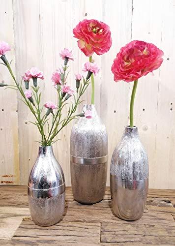 MichaelNoll vaas set van 3 bloemenvaas pot bokaalvaas decoratieve ovaas aluminium zilver 20,5/25/31 cm