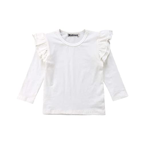 8f6af0d09 Mubineo Toddler Baby Girl Basic Plain Ruffle Sleeve Cotton T Shirts Tops  Tee Clothes
