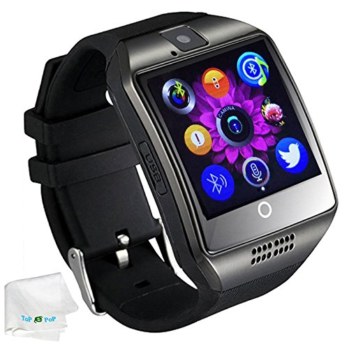 TOPEPOP Bluetooth Smart Watch with Camera SIM Card Slot Pedometer Fitness Tracker Wristwatch Men Women Boys Smartwatch Compatible with Android Smart Phones Samsung Galaxy LG HTC Huawei Motorola Black