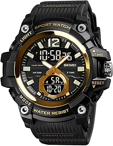 QHG Reloj Deportivo Digital de los Hombres 50 M Reloj Militar a Prueba de Agua a Prueba de Agua Reloj de Pulsera de Calendario de cronómetro Dual para Hombres (Color : BlackGold)