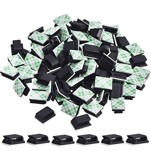 100 Piezas de Clip de Cable Adhesivo Organizador de Cables Soporte de Fijación de Alambre Cuerda (13 x 10 mm, Negro)