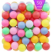 TADICK Assorted Color Ping Pong Balls Washable Plastic Table Tennis Ball (50 Pack)