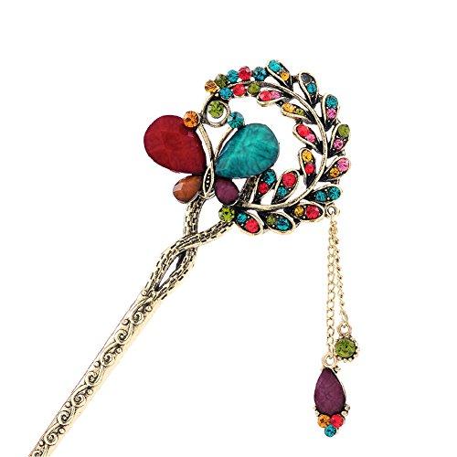 Colorful Butterfly Rétro Femmes Filles Tassel cheveux épingle à cheveux de bâton
