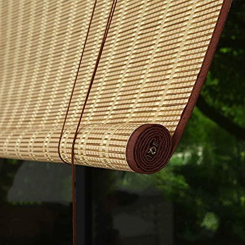 JLXJ Estor Enrollable Persiana Estilo Japones Persiana Enrollable de Bambú para Cenador de Balcón Al Aire Libre, 80% Cortina de La Puerta de Las Ventanas del Apagón, 80cm/ 100cm/ 120cm/140cm de Ancho