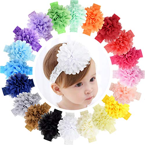 ALinmo 20 Colors 4.5 Inch Flower Headbands Baby Big Chiffon Flowers soft Lace Hair Bands for Baby Girls Infants Toddlers Newborns