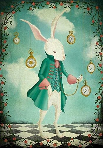 TELA-ARROTOLATA.Lindberg-Maja-Cm_71_X_49-The-White-Rabbit-Conigli-urbano-Pop-Surrealism-bambini-Childrens-libro-Fantasy,-Soggetto-Arte-per-bambini-per-arredo-parete-Stampa-su-tela-fine-art,-Canvas-ar
