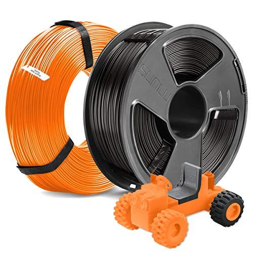 3D Printer PETG Filament 1.75MM, SUNLU 2KG PETG 1.75mm of MasterSpool, Fit FDM 3D Printer, 1KG Spool, Pack of 2, Dimensional Accuracy +/- 0.02 mm, PETG Black+Orange