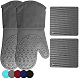 Best oven gloves - HOMWE Silicone Oven Mitts and Pot Holders, 4-Piece Review