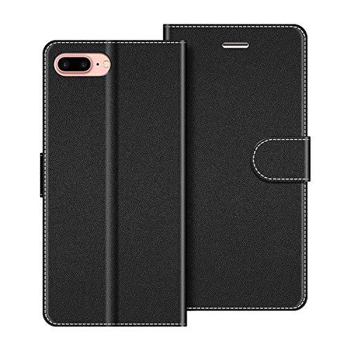 COODIO Handyhülle für iPhone 8 Plus Handy Hülle, iPhone 8 Plus Hülle Leder Handytasche für iPhone 7 Plus/iPhone 8 Plus Klapphülle Tasche, Schwarz