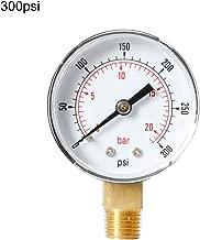 Manómetro de 52 mm, esfera de 1/8 pulgadas BSPT vertical 0/15,30,60,100,160,300 PSI y soporte inferior para barras.