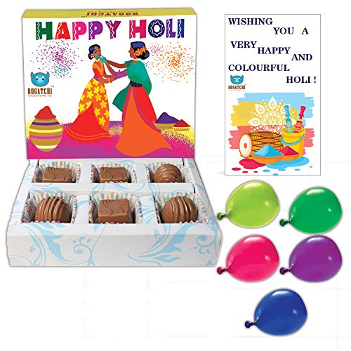 ALDIVO Happy Holi Satin Cushion Cover with Filler, Printed Mug, Greeting Card and Printed Key Ring Combo Pack (White)