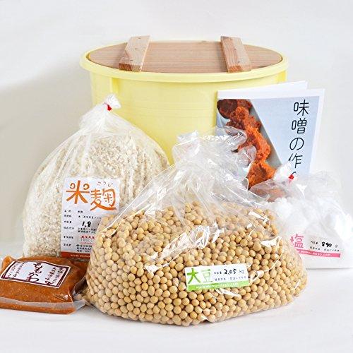 味噌手作りセット(辛口版)7kg用 樽付き(大豆2.05kg,米麹1.80kg,塩890g)