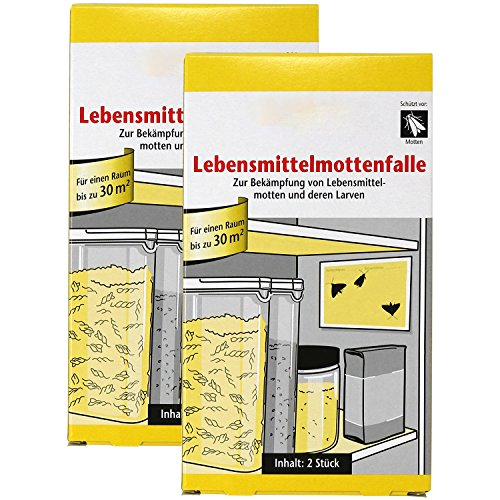 com-four® 4 Lebensmittelmottenfallen, Falle für Lebensmittelmotten und -larven (04 Stück - Lebensmittelmottenfalle)
