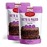 Miss Jones Baking Keto Brownie Mix - Gluten Free, Low Carb, No Sugar Added, Naturally Sweetened Desserts & Treats - Diabetic, Atkins, WW, Paleo Friendly, 2 Count