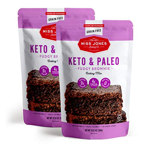 Miss Jones Baking Keto Brownie Mix - Gluten Free, Low Carb, No Sugar Added, Naturally Sweetened Desserts and Treats - Diabetic, Atkins, WW, and Paleo Friendly (Pack of 2)