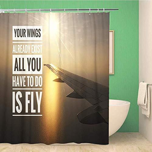SYLZBHD Badezimmer Duschvorhang Flugzeug Motivierende Zitate Von FlugzeugflüGeln AußEnansicht WäHrend des Wasserdichten Badevorhangs-B180xH200cm