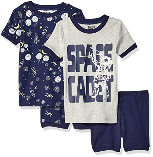 Spotted Zebra 4-Piece Snug-Fit Cotton Short Pajama Set, Space Cadet, L
