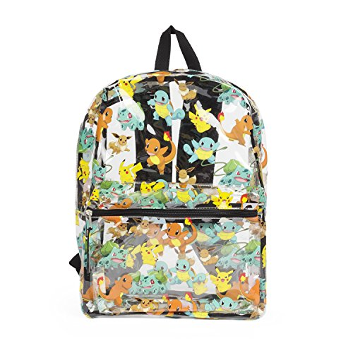 Clear Pokemon Backpack for Boys and Girls with Pikachu, Squirtle, Charmander - Large 16 Inch Full Size