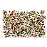 ZGNB Pantalla de Valla Artificial en expansión con Flores, seto de Madera con Flores Artificiales Hojas Pantalla de decoración de jardín Valla retráctil de celosía Extensible