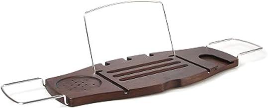 Multifunctionele plank voor bad, uitschuifbare badcaddy badkamertrays met sleuven voor tablettelefoon, kaarsmok/bekerhoude...