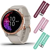 Garmin Venu GPS Smartwatch with AMOLED Display and Included Wearable4U 3 Straps Bundle (Light Sand/Rose Gold, Berry/Pink/Teal)