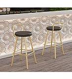 YHYS-Meubles Chaise de Bar/Tabouret doré, Noir, Fer forgé/siège en Cuir de Haute qualité/avec Dossier, Convient aux Bars, balcons, Salons, etc. (65cm,75cm Option) Deux/Or/Noir