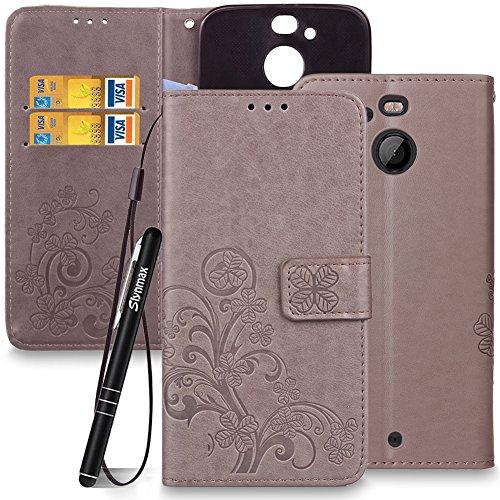 Slynmax Blumen Lederhülle für HTC 10 EVO/HTC Bolt Wallet Flip Hülle Handytasche Lanyard Strap Leder Tasche Klapphülle Karten Slot Ständer Magnetverschluss Handyhülle(Grau)