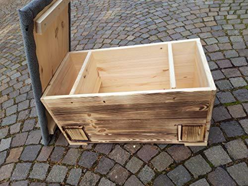 Kees Holzprodukte Igelfutterstation mit Rattenklappe, Dachpappe, geflammt und Boden XXL