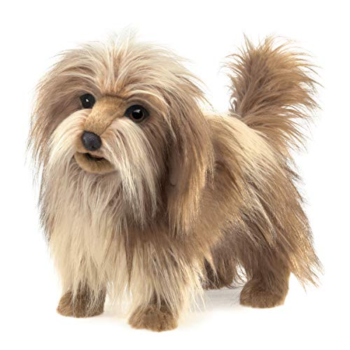 Folkmanis Shaggy Dog Hand Puppet, Brown, Off White, Black, 8'
