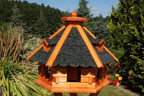 Vogelhaus von klein bis Riesig XXL Futterhaus Futterhäuschen Vogelvilla V18, Vogelfutterhaus aus Holz mit Solarbeleuchtung beleuchtet (Schwarz, mittel), Vogelfutterhaus mit Futtersilo, Silo