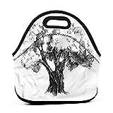 Bolsa de almuerzo reutilizable de tamaño grande, árbol de olivo retro naturaleza, bolsa de almuerzo para adolescentes