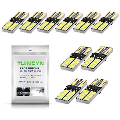 TUINCYN 194 168 T10 192 2825 W5W Bombilla LED Cuña blanca Luz LED Interior del automóvil Luz de techo Luz de matrícula Luz de marcador lateral Luz de respaldo 12V ~ 24V (paquete de 10)