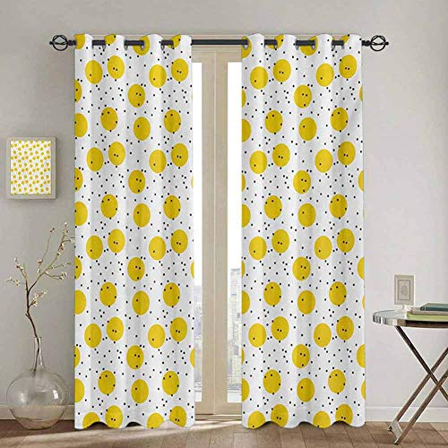 DONEECKL Yellow and White Black out Window Curtain Minimalist Modern Geometric Big Circles Rounds and Dots Retro Soundproof Shade W52 x L63 Inch Marigold and Black