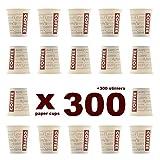 Evercups 300 Vasos Desechables de Café para Llevar - Vasos Cartón 200ml / 8oz y Agitadores de Madera para Servir el Café, el Té, Bebidas...
