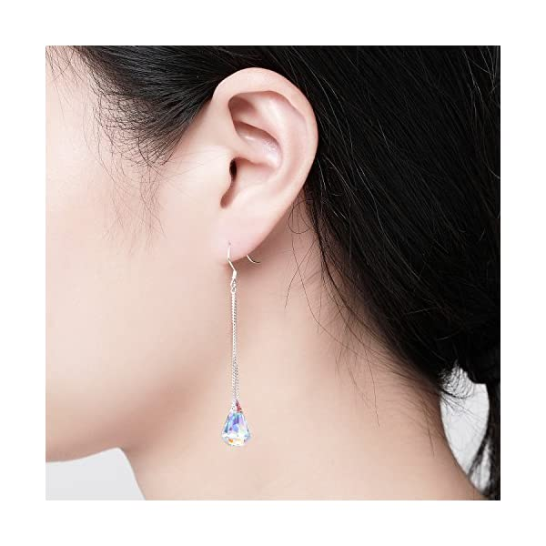 DESIMTION Sterling Silver Drop Dangle Earrings With Color Change Crystal From Swarovski Gifts for Women Wife Sister Daughter
