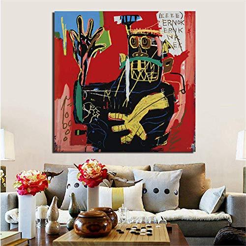 nr Jean Michel Portraits Leinwand Poster Drucke Marmor Abstrakt Wandkunst Malerei Dekoratives Bild Moderne Heimtextilien -50x50cm Rahmenlos