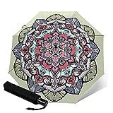 Paraguas plegable de viaje con diseño de mandala, de tres pliegues, compacto, ligero, para sol y lluvia