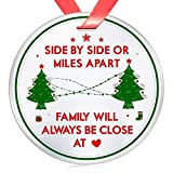 Elegant Chef Family Christmas Ornament Gift- Side by Side Or Miles Apart Family Will Always be Close at Heart- Long Distance Love Decoration for Xmas Holidays Celebration- 3 inch Flat Stainless Steel