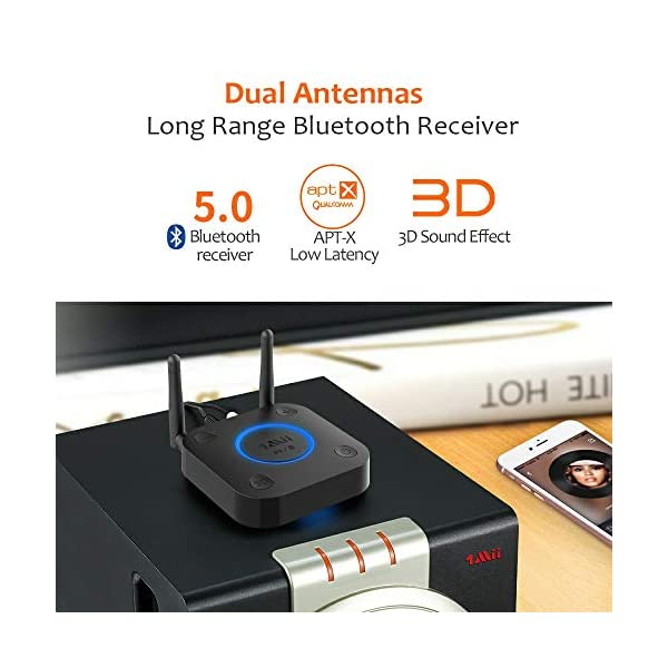 Long Range Bluetooth Receiver, HiFi Wireless Audio Adapter, Bluetooth 5.0 Receiver with 3D Surround aptX Low Latency Optical RCA AUX 3.5mm Coaxial for Home Stereo System 6