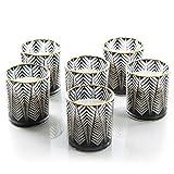 Logbuch-Verlag 6 velas aromáticas para colocar de pie, color negro, blanco y dorado, con cera aromática de vainilla y coco, 8 cm