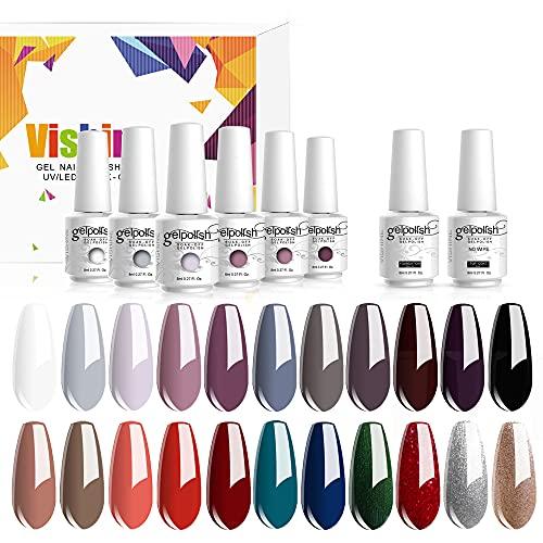 Vishine Lot de 24 Vernis à Ongles Semi permanent Vernis Gels UV LED Soak Off Rouge Blanc Black Classsique Collection Kit Manicure pour Nail Art 8ml Cadeau idéal #05