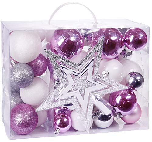 BRUBAKER 50ct Christmas Ball Ornaments - Shatterproof - with Tree Top - Baubles - Christmas Tree Decorations - Pink White Silver