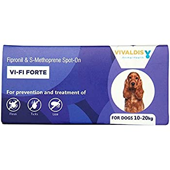 Vivaldis Vi-Fi Forte (10-20 Kg) - Pack Of Single Pipettes : Spot On For Prevention & Treatment Of Fleas, Ticks And Chewing Lice Infestation