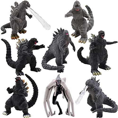 Godzilla Cake Topper,8 Piezas King of Monsters Godzilla Monsters Figuras, 5cm Cumpleaños Dinosaurio Modelo Set,Baby Shower Fiesta de cumpleaños Pastel Decoración Suministros