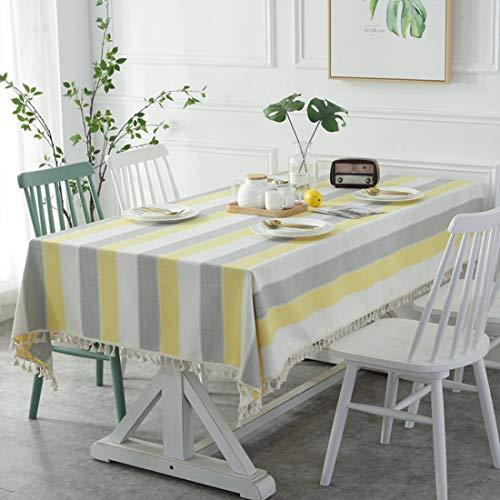 GWELL Streifen Tischdecke Eckig Wasserabweisend Tischtuch Pflegeleicht Schmutzabweisend Baumwolle Tischabdeckung mit Quaste Frische Farbe Gelb Grau 140×180cm