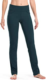 "Safort 28""/30""/32""/34"" Inseam Regular/Tall Mid-Waist Straight Leg Yoga Pants, Four Pockets, Non-See-Through, Black"