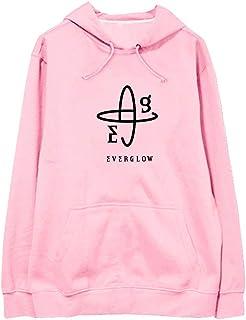 con zip e cappuccio felpa da donna casual a maniche lunghe Asvivy tinta unita rosa 50-52